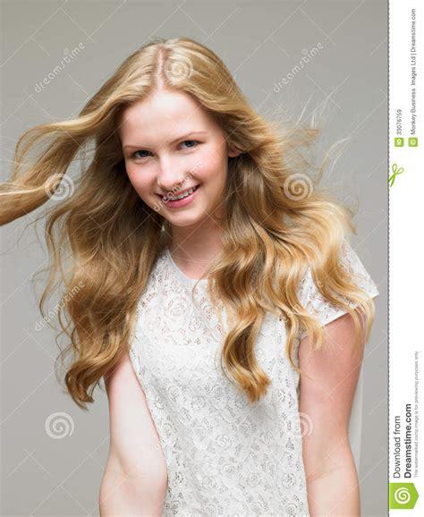 Studio Portrait Of Pretty Teenage Girl Stock Image Image