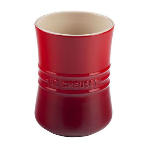 le creuset stoneware utensil crock  quart cherry red cutlery