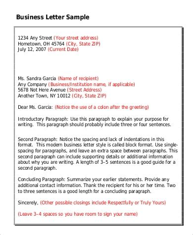 standard business letter format  examples  word