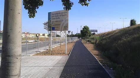 recta final de las obras del carril bici camas sevilla