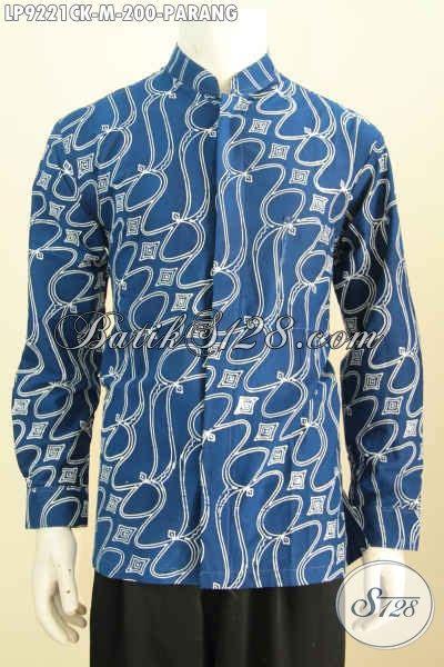 hem koko kerah shanghai warna biru motif parang kemeja