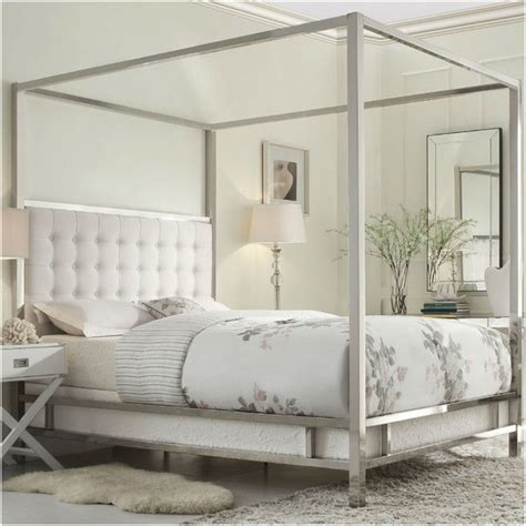 chrome canopy bed modern chrome metal canopy bed frame with white fabric