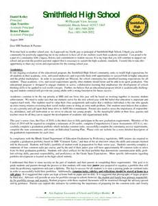 School Principal Welcome Back Letters