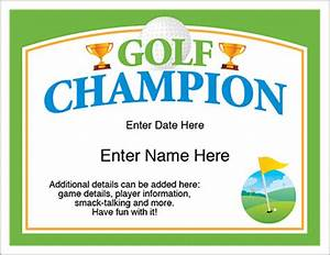 Golf Certificate Template Free Golf Champion Certificate Free Award Certificates