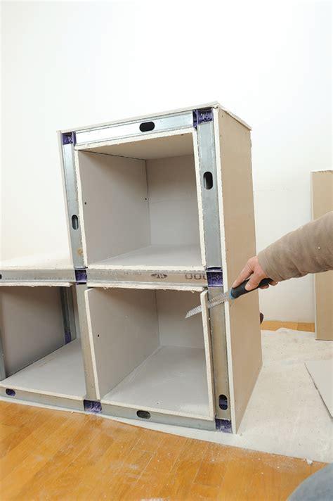 plan de travail cuisine arrondi réaliser des niches des meubles et des coffres en plaques