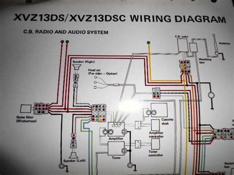 yamaha oem factory color wiring diagram schematic 1986 xvz13ds xvz13dsc cb radio ebay