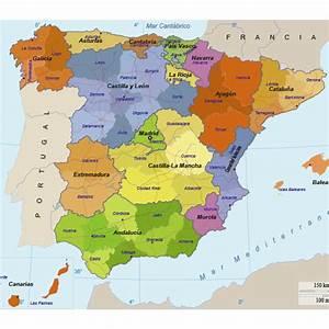 Mapa político de España editable Vector Clipart