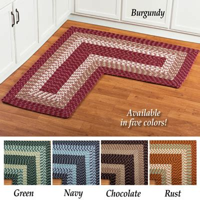 L Shaped Kitchen Rug by L Shaped Corner Braided Rug From Collections Etc