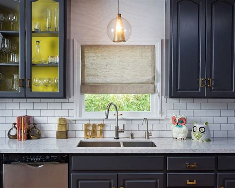 navy cabinets eclectic kitchen house  honey