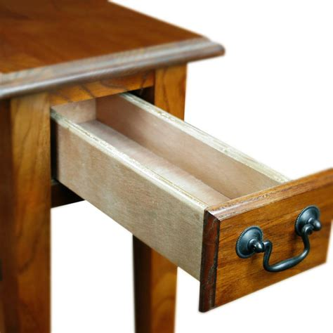 leick chair side end table medium oak finish