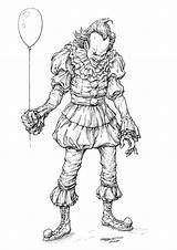 Pennywise Clown Pages Coloring Drawing Draw Clayton Halloween Scary Horror Comics Drawings Template Zombie Howtodrawcomics Barton Wise Artstation Penny Sketch sketch template