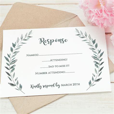 wedding rsvp card template printable rsvp card leaves