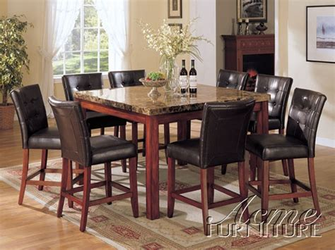 counter height marble top dining table w 8 chairs set ebay
