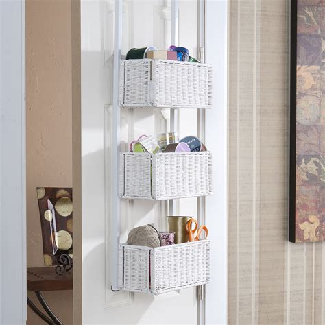 Overthedoor 3tier Basket Storage White