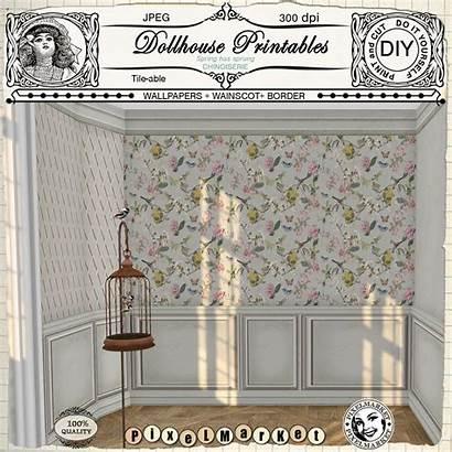 Dollhouse Printable Miniature Wainscoting Doll Chinoiserie Shabby