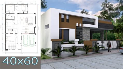 Home Design 60 X 40 : One Story House Plan 40x60 Sketchup Home Design