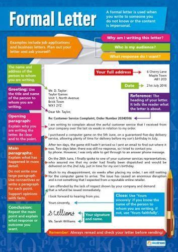 formal letter english language arts educational chart