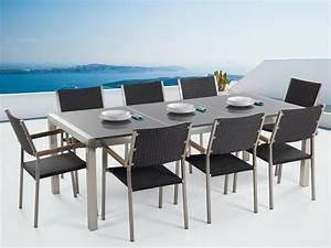 Gartenmöbel Set 8 Stühle : gartenm bel set granit grau poliert 220 x 100 cm 8 sitzer st hle rattan grosseto ~ Bigdaddyawards.com Haus und Dekorationen