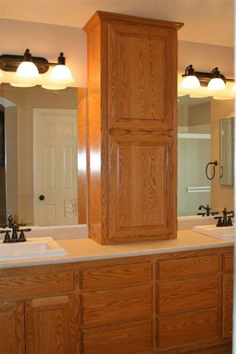 Bathroom Vanity Countertop Cabinet by Adding A Cabinet On Top Of A Counter Between Sinks In