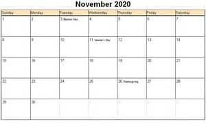 November 2020 Calendar Printable Org