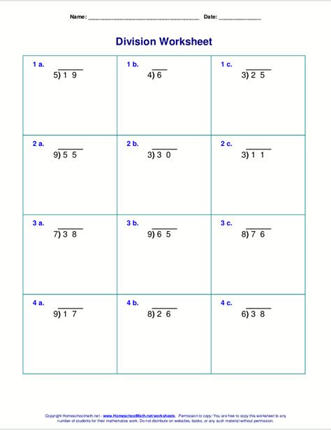 worksheets for division with remainders