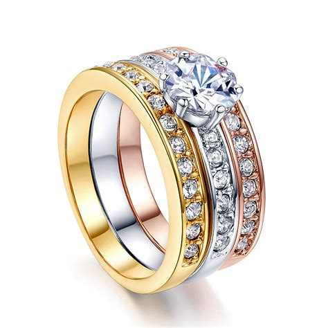 three rings surface prong austrian cz 18k rose yellow white gold plated wedding rings