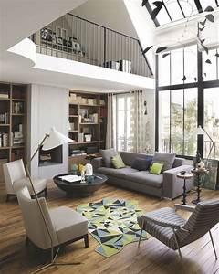 appartement paris deco et design 12 photos inspirantes With tapis de sol avec canape atelier