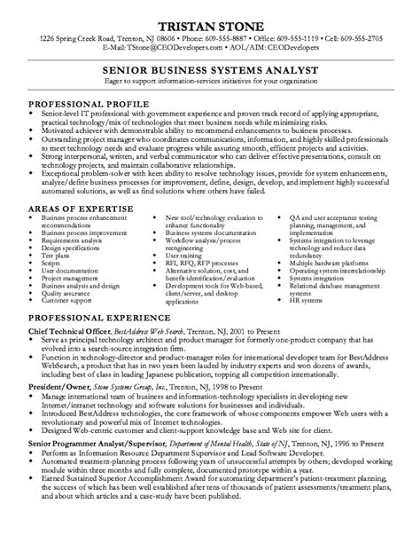 senior business analyst resume exle resumes design