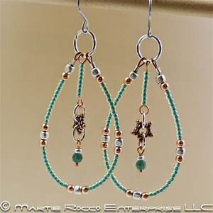 Large Hoop Earrings With Green Glass Seed Beads And Copper