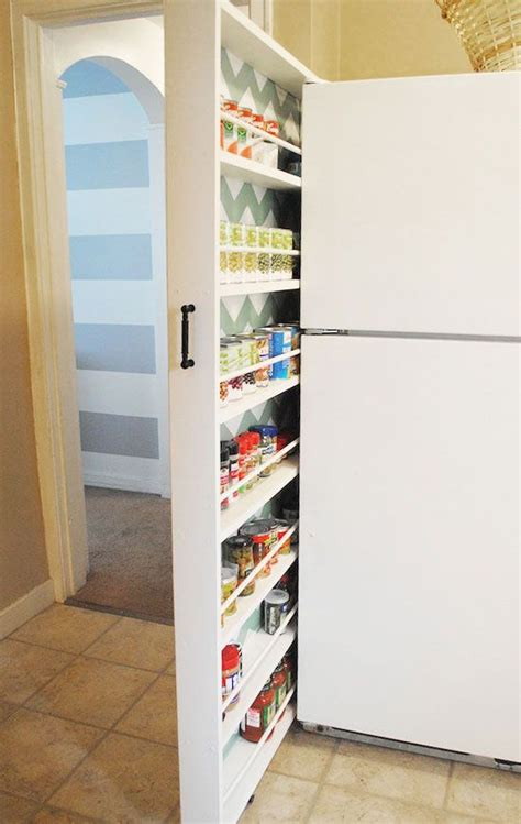 slider storage to fridge click pic for 25 diy small apartment decorating ideas on a