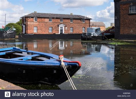 Canal Boat Cheshire by Ellesmere Port Boat Museum Narrow Boats Stock Photos