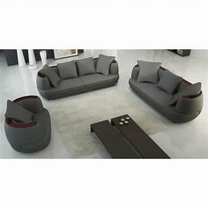 ensemble canape 321 places en cuir gris ryga achat With canapé cuir 3 2 1