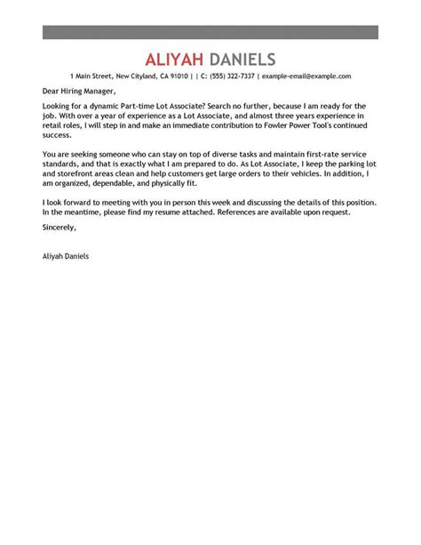 Cover Letter For Part Time by Amazing Part Time Lot Associates Cover Letter Exles