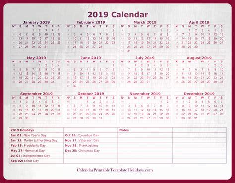 2019 Calendar With Holidays Printable Editable Free