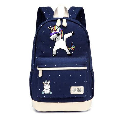 teal home decor dabbing unicorn canvas backpack 100 unicorns