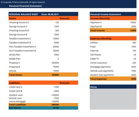 personal financial statement template free excel template