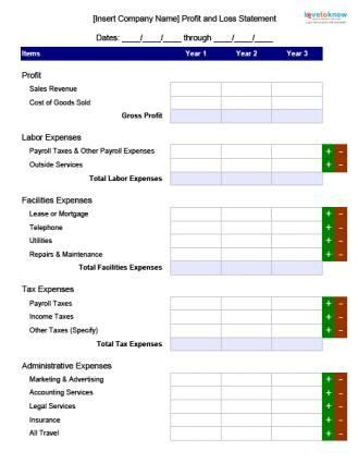 profit  loss blank form business careers