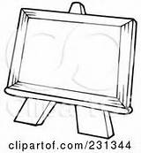 Easel Outline Coloring Clipart Royalty Visekart Clip Rf Blank Class Poster Illustration Canvas Easels Holding Teacher Students Sign Illustrations Clipartof sketch template