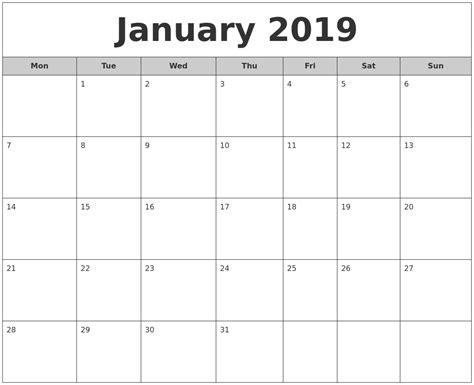 January 2019 Free Monthly Calendar
