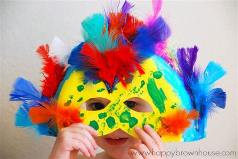 paper plate carnival masks happy brown house 927 | mask