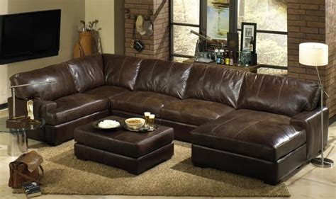 Distressed Leather Sleeper Sofa by L Shaped Brown Leather Sectional Sofa With Right Chaise