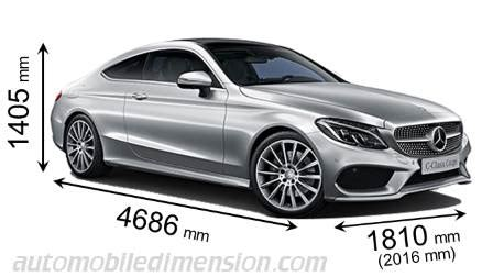 dimensions mercedes benz  coupe  coffre  interieur