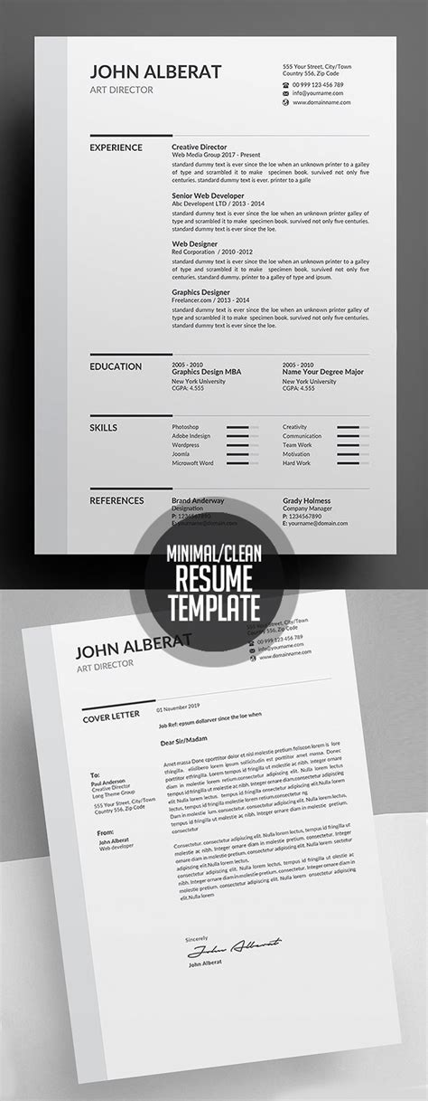 Clean Resume Template by New Simple Clean Cv Resume Templates Design Graphic