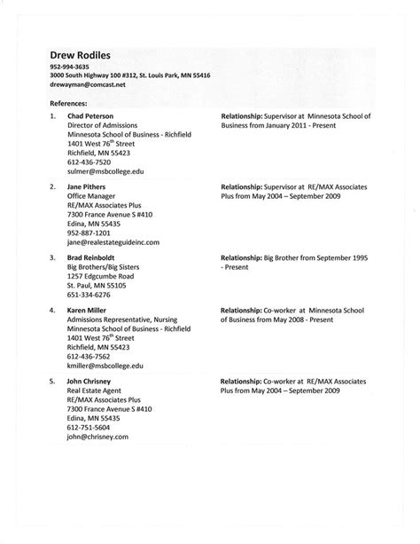 a list of references for a resume