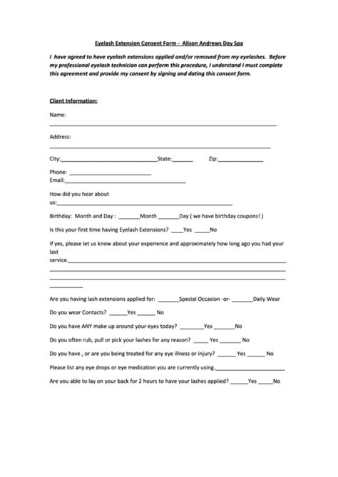 eyelash extension waiver form lash consent form alison andrews spa printable pdf download