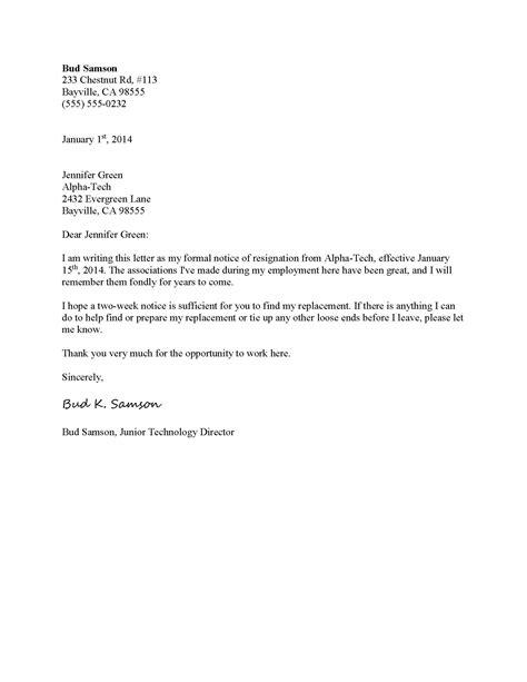 formal resignation letter template formal letter template