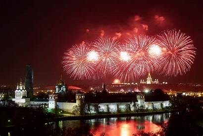 Fireworks Victory Moscow Russia Celebration Many Capital