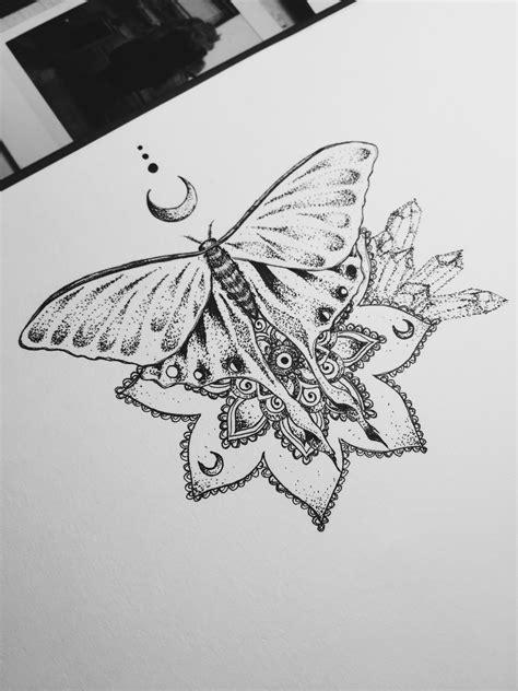 luna moth tattoo design mandala henna moon dotwork crystal