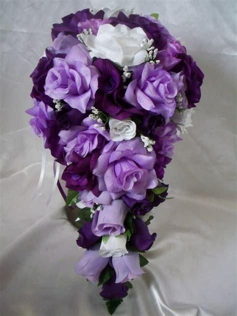 wedding bridal bouquet cascading lavender purple white