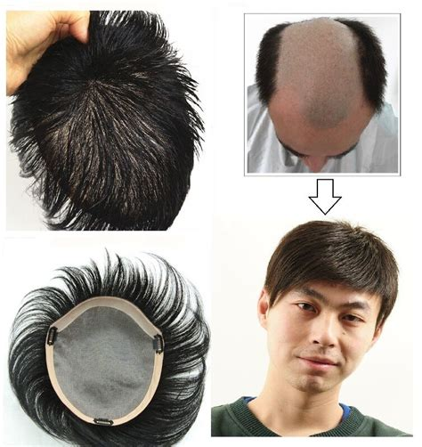 unprocessed human hair replacement system mono toupee pu